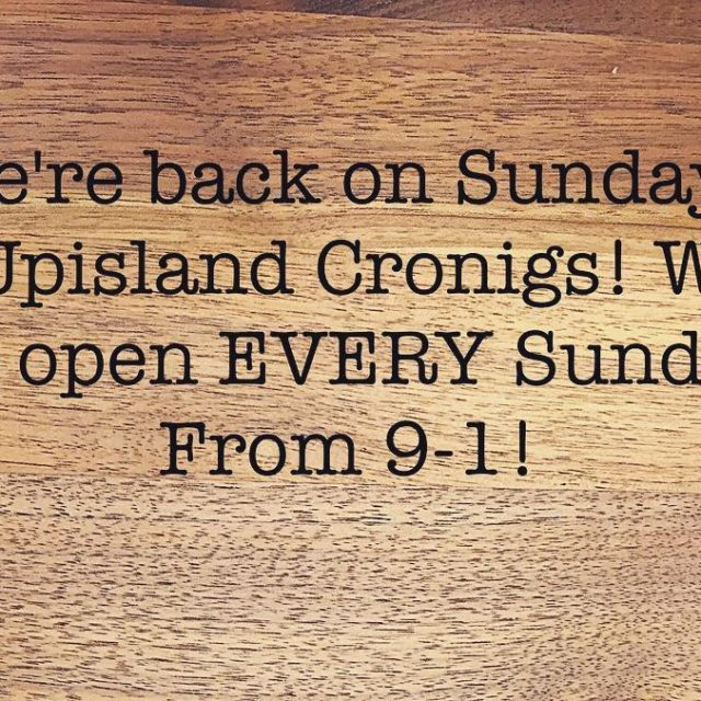 Upisland Cronigs is back in business on Sundays! It ishellip